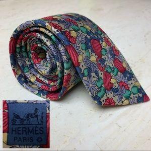 HERMES Vintage authentic silk tie